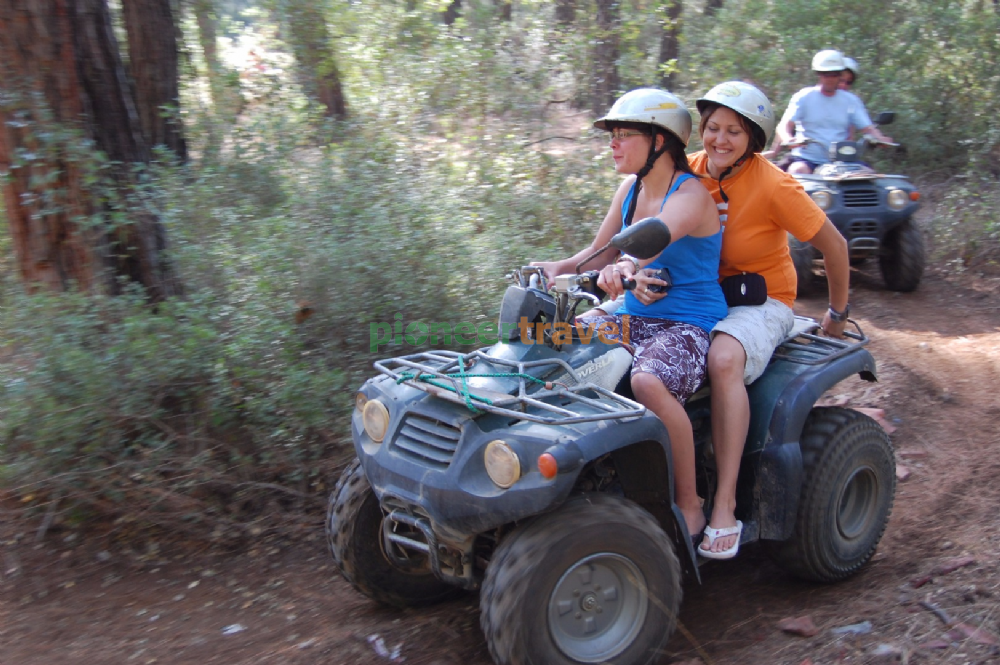 a ghost town with a quad We will travel as a convoy starting in the ghost town kayaköy, anciently know as  lebessos where you will be able to view the ruins in ancient times it was a city.